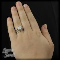 Double Halo Engagement Ring With Wedding Band On Hand 3