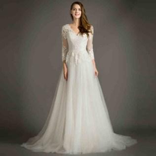 Draped Sweetheart A Line Empire Lace Wedding Dress Long A Line