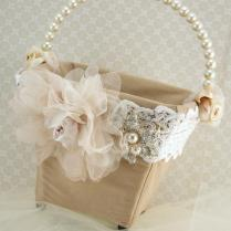 Flower Girl Basket Bridal Basket In Ivory, Blush Pink, Nude And