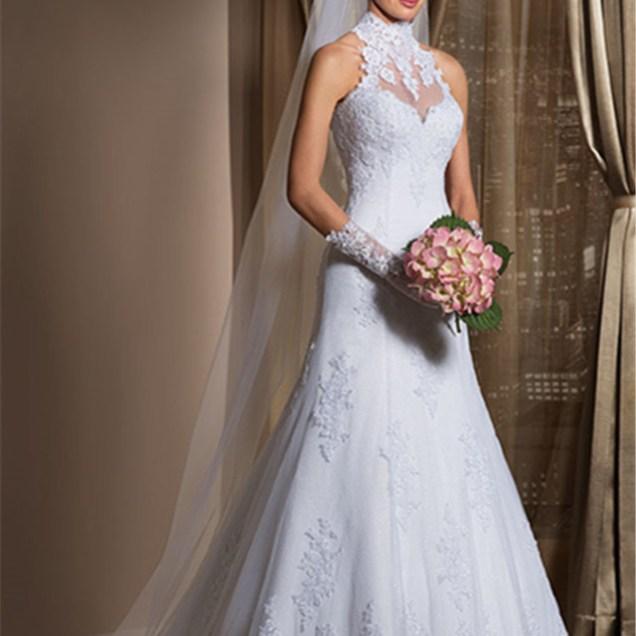 Gorgeous A Line High Neck Wedding Dress Cheap Lace Sheer