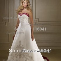 High Quality Burgundy And White Wedding Dress