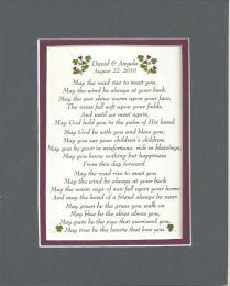 Irish Wedding Blessing Personalized Wedding Anniversary Gift