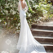 Lace Wedding Dresses Long Sleeves Sheer Backless V Neck Chiffon
