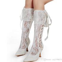 New Fashion Winter Wedding Boots 5cm High Heels Sexy White Sheer