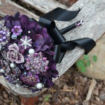Purple And Black Brooch Bouquet