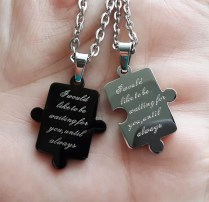 Puzzle Connecting His And Hers Pendants For 2 Personalized Couples
