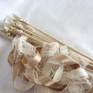 Ribbon Wands, Wedding Wands, 3 Ribbons And Bell, Barn Rustic