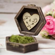 Rustic Wedding Ring Box Moss Ring Bearer Pillow Box Ring Holder