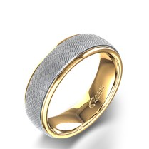 Unique Men's Wedding Ring In 14k Two Tone Gold