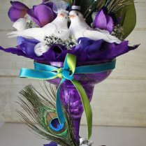 Wedding Cake Topper Peacock Theme Purple By Foreverdenimandlace