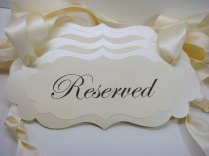 Wedding Reserved Pew Signs For Special Guest Seating During