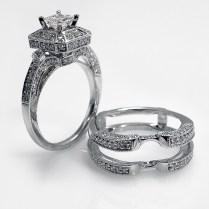 White Gold Princess Cut Diamond Halo Wedding Ring And Wrap