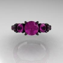 14k Black Gold Three Stone Amethyst Wedding Ring Engagement Ring