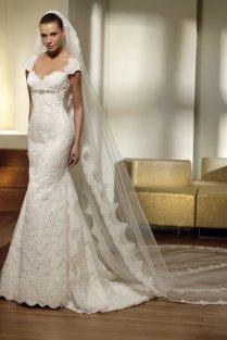 2012 Mermaid Cap Sleeve Lace Wedding Dress Sexy Bridal Gown