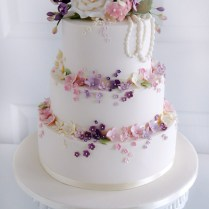 3 Tier Wedding Cake With Edible Lace, Sugar Rose Bouquet And Rose