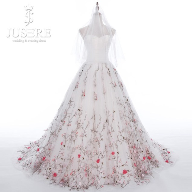 Aliexpress Com Buy Jusere Tree Branch Hem Train Sweetheart Satin