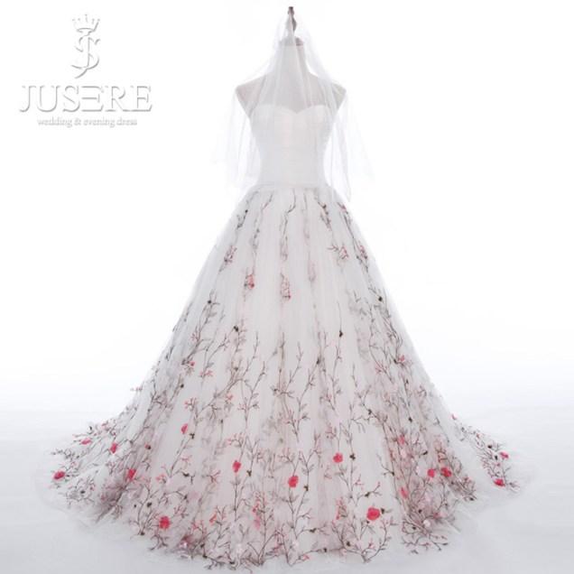 Aliexpress Com Buy Jusere Tree Branch Hem Train Sweetheart Satin