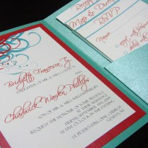 Aqua (tiffany Blue) And Red Wedding Invitations