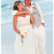 White Linen Dress For Beach Wedding