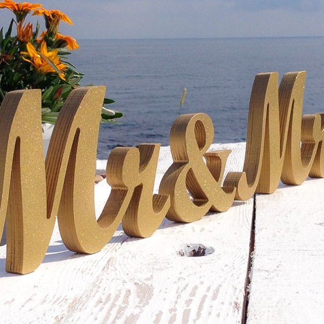 Beach Wedding Mr And Mrs Table Signs Wedding Theme Gold