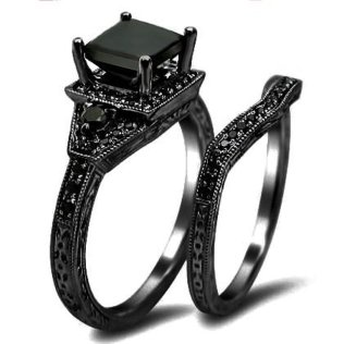 Black Wedding Ring Sets For Him And Her Black Onyx Wedding Ring