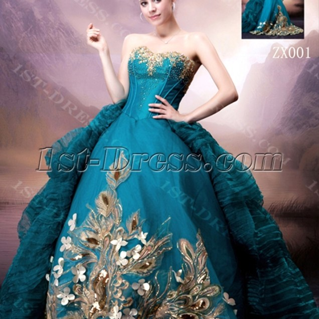 Blue And Gold Wedding Dress