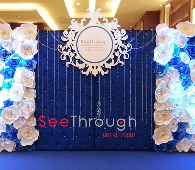 Blue Wedding Paper Flowers Wall