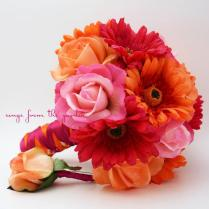 Bridal Bouquet Real Touch Gerbera Daisies, Real Touch Roses In Hot