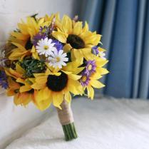 Bridal Wedding Bouquet 2015 Yellow Sunflowers White Purple Daisy