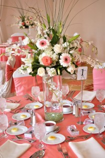 Coral Wedding Decor Ideas With Flowers In Thin Glass Vase And