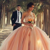 Coral Wedding Dresses Bridal Ball Gown Crystals Quinceanera Dresses