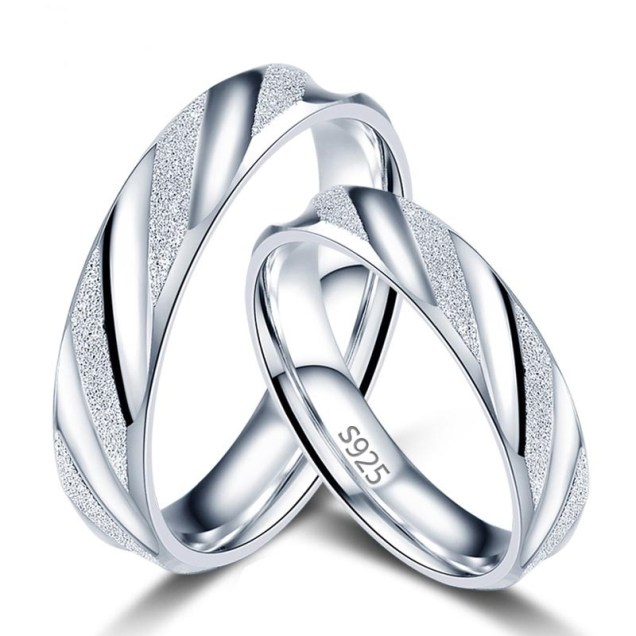 Couples Wedding Rings S925 Silver Engagement Bands Engraving Rings