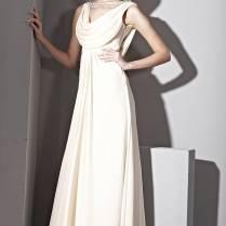 Cowl Neck White Silk Wedding Dress With Low Back By Amy Kuchel