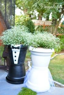 Diy Wedding Centerpiece Trivets And Bridal Couple Flower Pots