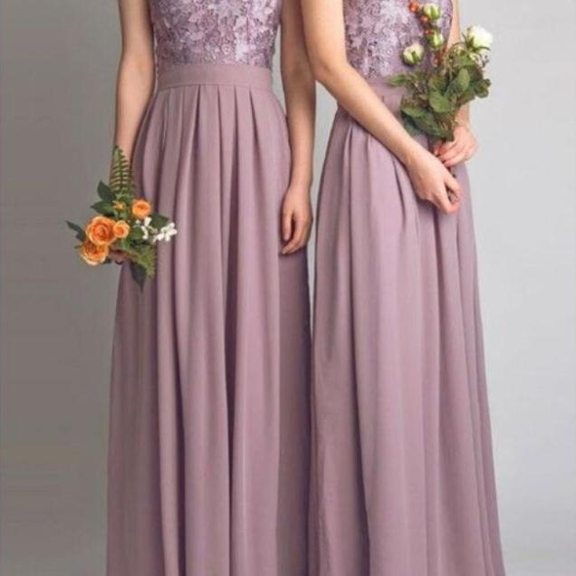 Dusty Mauve Bridesmaid Dresses For Wedding With Applique Pleat
