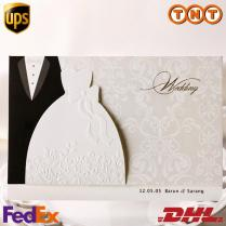 Funny Wedding Invitations Black Suits White Evening Dress Style