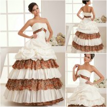 Gown Strapless Leopard Printed Wedding Dresses