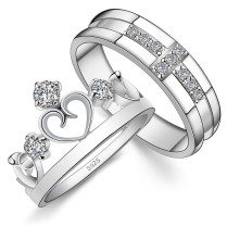 His & Hers Matching Couple Sterling Silver Engagement Rings Bands