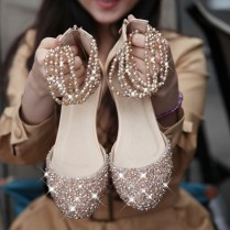 I Want Pearls Flat Wedding Shoes With Bling Bling Flat Wedding