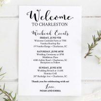 Itinerary Template Etsy Wedding Welcome Bag Printable Editable