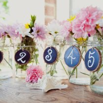 Jar Wedding Reception Decor Centerpieces Chalkboard Table Numbers