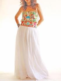 Las Florecitas Embroidered Ethnic Maxi Mexican Wedding Dress By