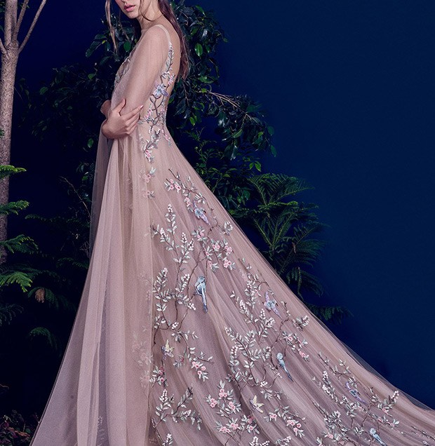 Mauve Wedding Gown With Bird And Leaf Appliques