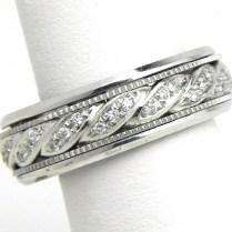 Men's 14k White Gold Swirl Diamonds Wedding Band Ring