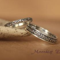 Narrow And Wide Sterling Silver Wedding Band Set