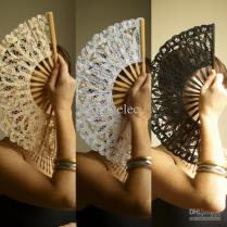 Online Cheap Vintage Ivory Victorian Lady Lace Hand Fan For