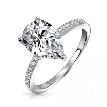 Pear Shaped 2 25 Carat Cz Solitaire Engagement Ring 925 Silver