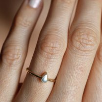 Pearl Engagement Ring Gold Pearl Ring Pear Pearl Ring14k