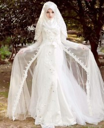 Popular White Wedding Abaya
