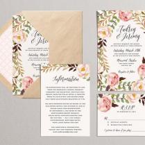 Printable Wedding Invitation Set, Floral Wedding Suite, Diy